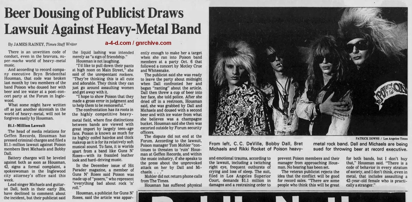 1987.11.06 - Los Angeles Times - Beer Dousing of Publicist Draws Lawsuit Against Heavy-Metal Band 1987_142