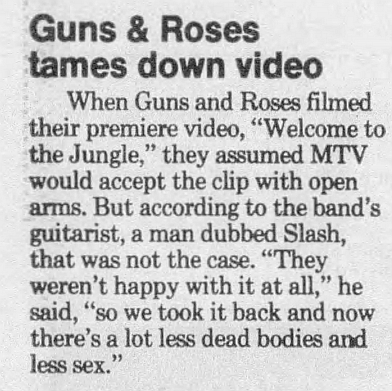 1988.04.24 - Quad City Times - Guns & Roses tames down video (Slash) 1988_011