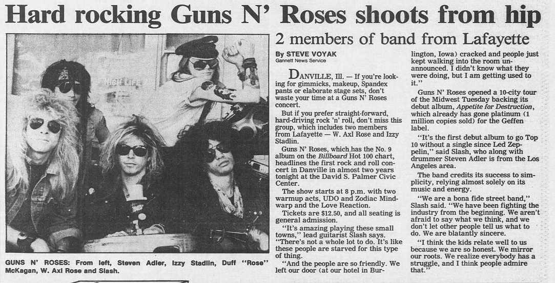 1988.04.30 - Journal and Courier - Hard rocking Guns N' Roses shoots from hip (Slash) 1988_015