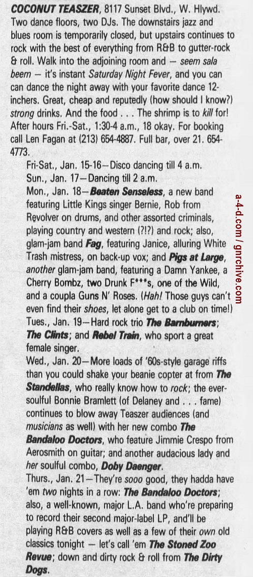 1988.01.15 - L.A. Weekly - Ad about show with Guns N' Roses members 1988_069