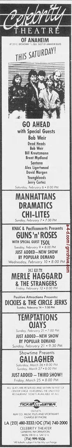 1988.02.09 - Celebrity Theatre, Anaheim, USA 1988_071