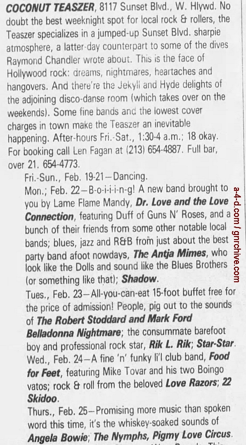 1988.02.19 - L.A. Weekly - Show ad for Duff's side band 1988_072