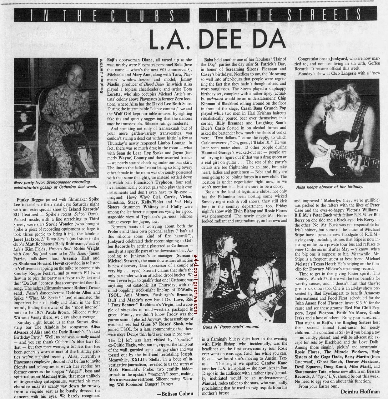 1988.03.25 - L.A. Weekly - L.A. Dee Da [Duff and Slash jam at the Cathouse] 1988_073