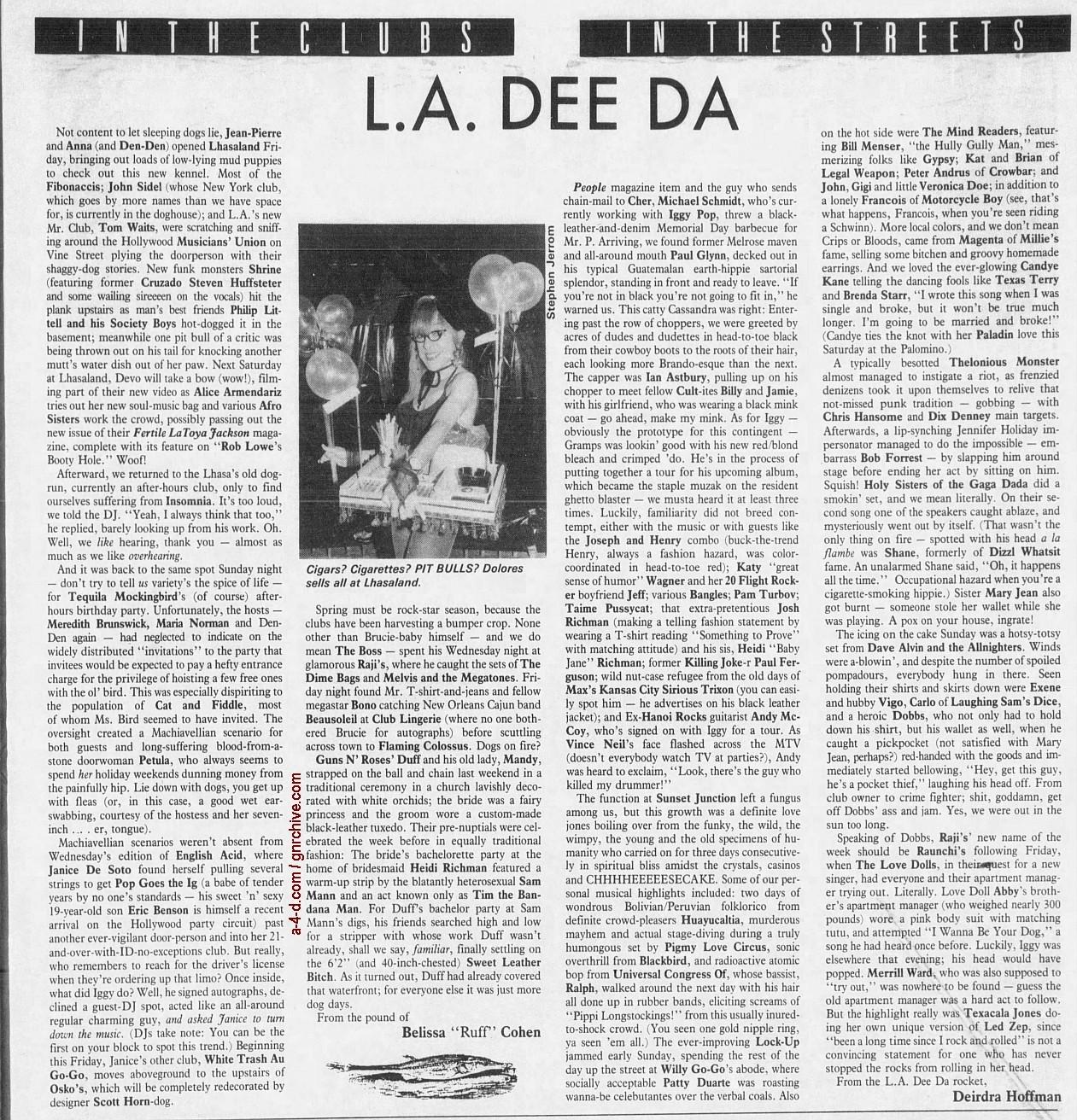 1988.06.03 - L.A. Weekly - L.A. Dee Da [Duff's wedding] 1988_083