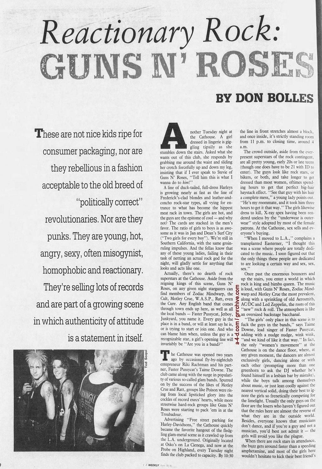 1988.06.10 - L.A. Weekly - Bad Boys, Great Noize (Axl, Slash, Duff) 1988_085