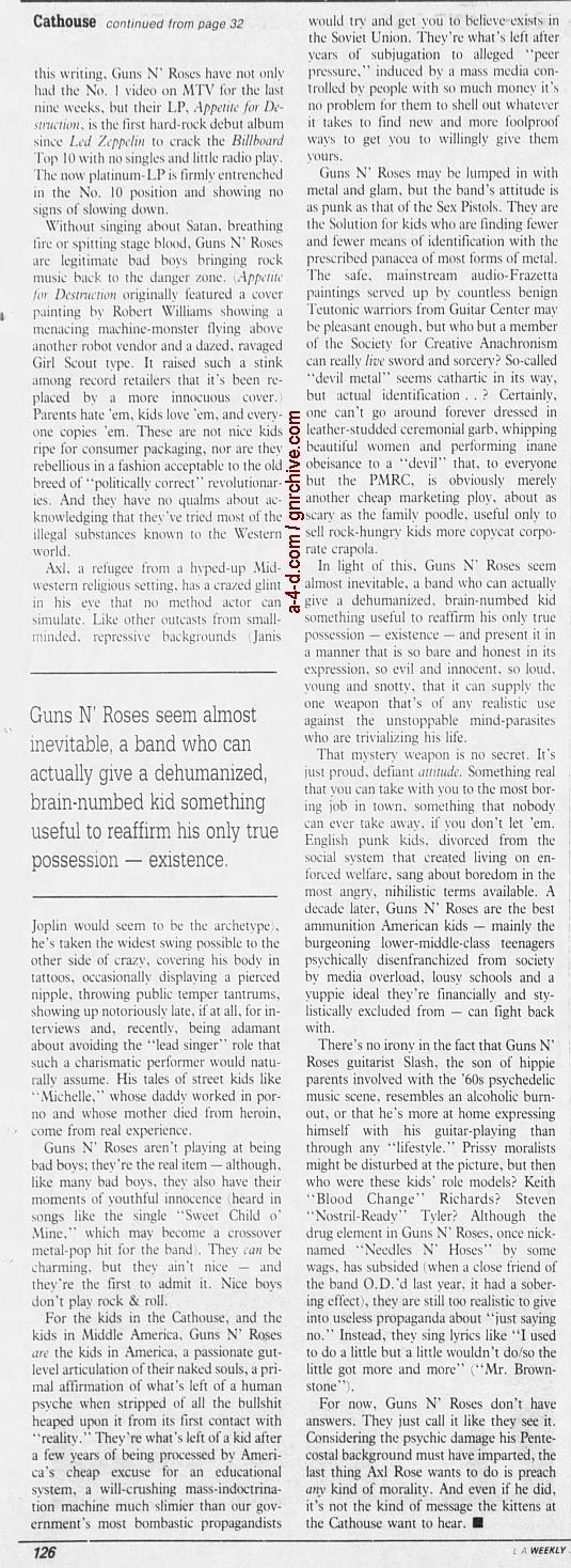 1988.06.10 - L.A. Weekly - Bad Boys, Great Noize (Axl, Slash, Duff) 1988_089