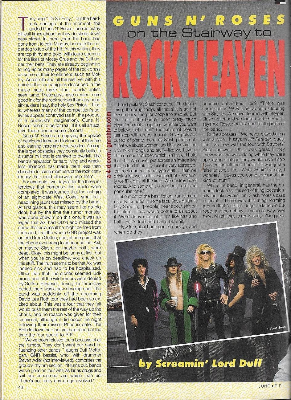 1988.06.DD - RIP Magazine - Guns N' Roses On The Stairway To Rock Heaven (Axl, Slash, Izzy, Duff) 1988_105