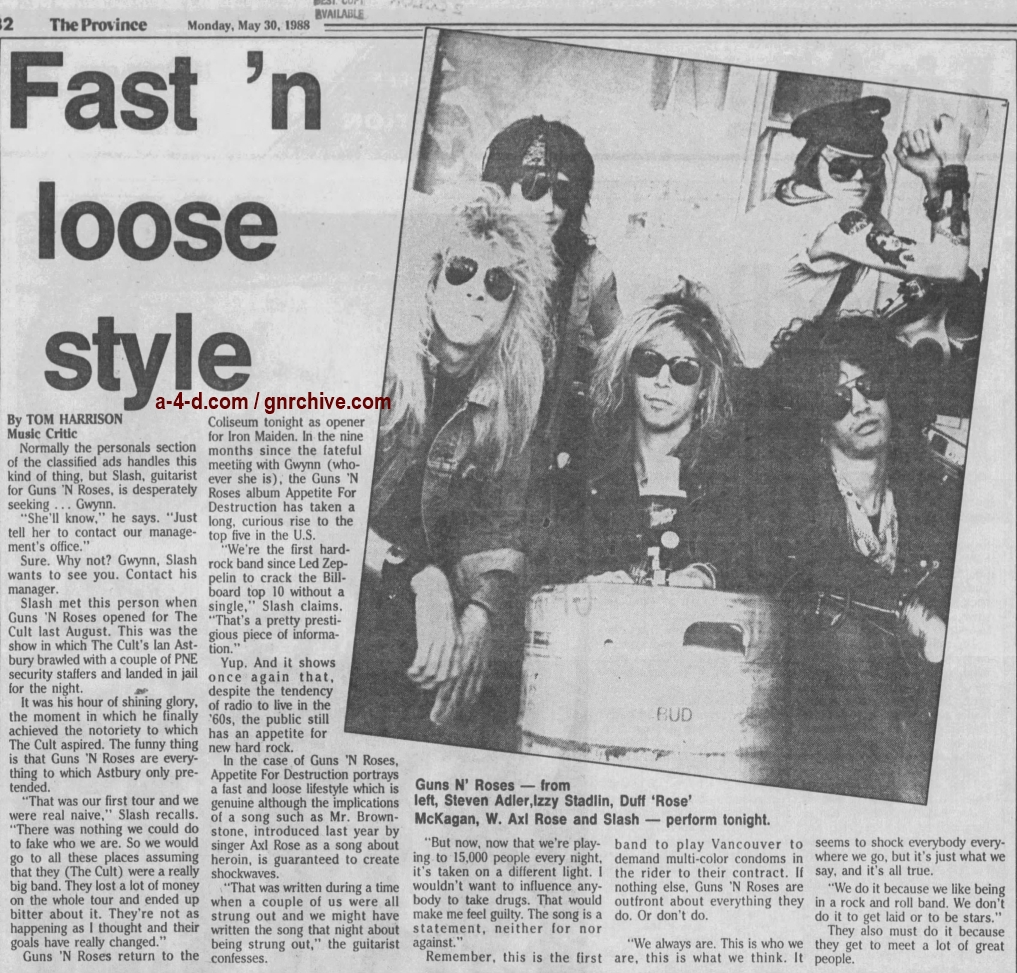 1988.05.30 - The Province - Fast 'N Loose Style (Slash) 1988_109