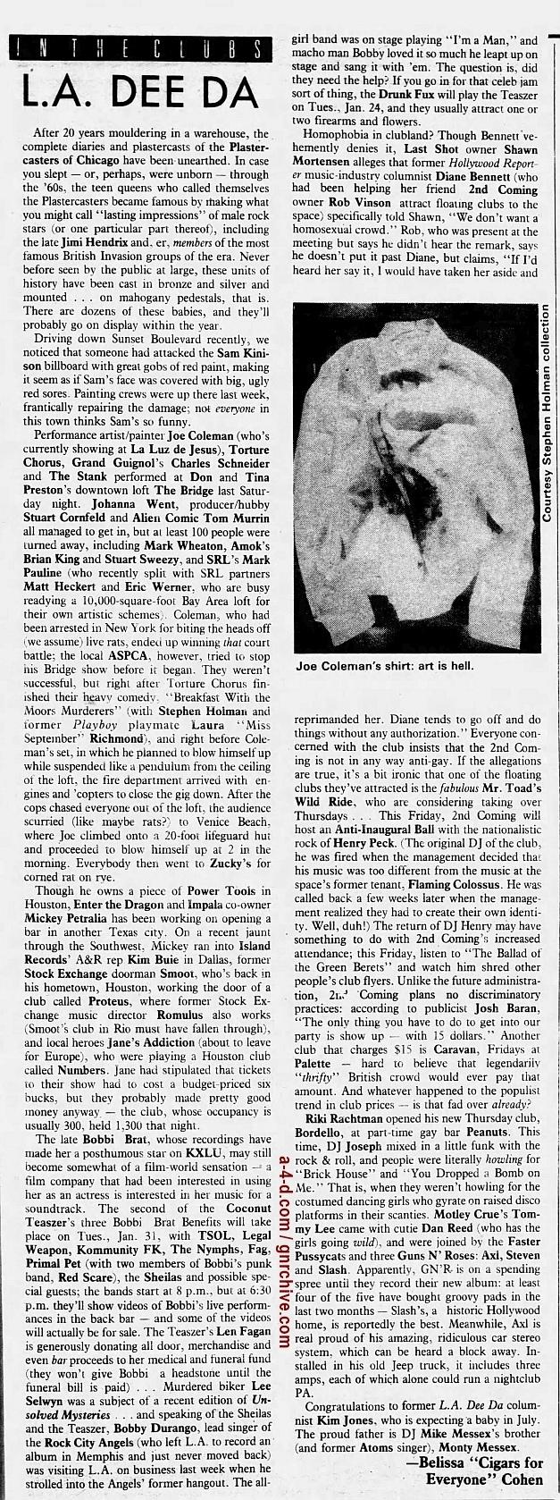 1989.01.20 - L.A. Weekly - L.A. Dee Da [Axl, Slash, Steven/Drunk Fux] 1989_012