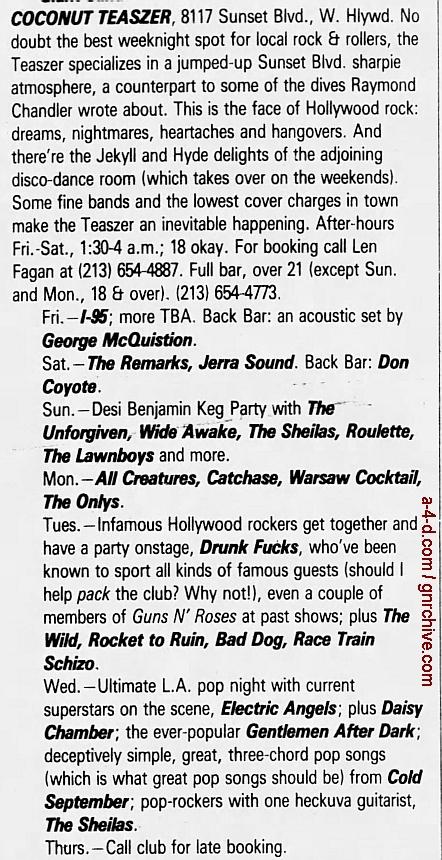 1989.01.20 - L.A. Weekly - L.A. Dee Da [Axl, Slash, Steven/Drunk Fux] 1989_013