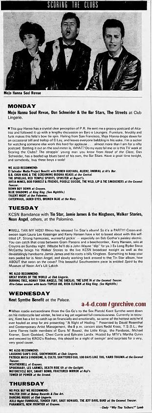 1989.02.24 - L.A. Weekly - [Guns N' Roses members at benefit show] 1989_015