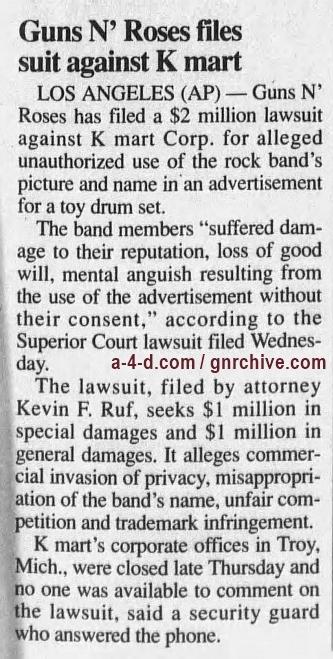 1990.10.26 - AP/The Courier - Guns N' Roses Files Suit Against K mart 1990_111