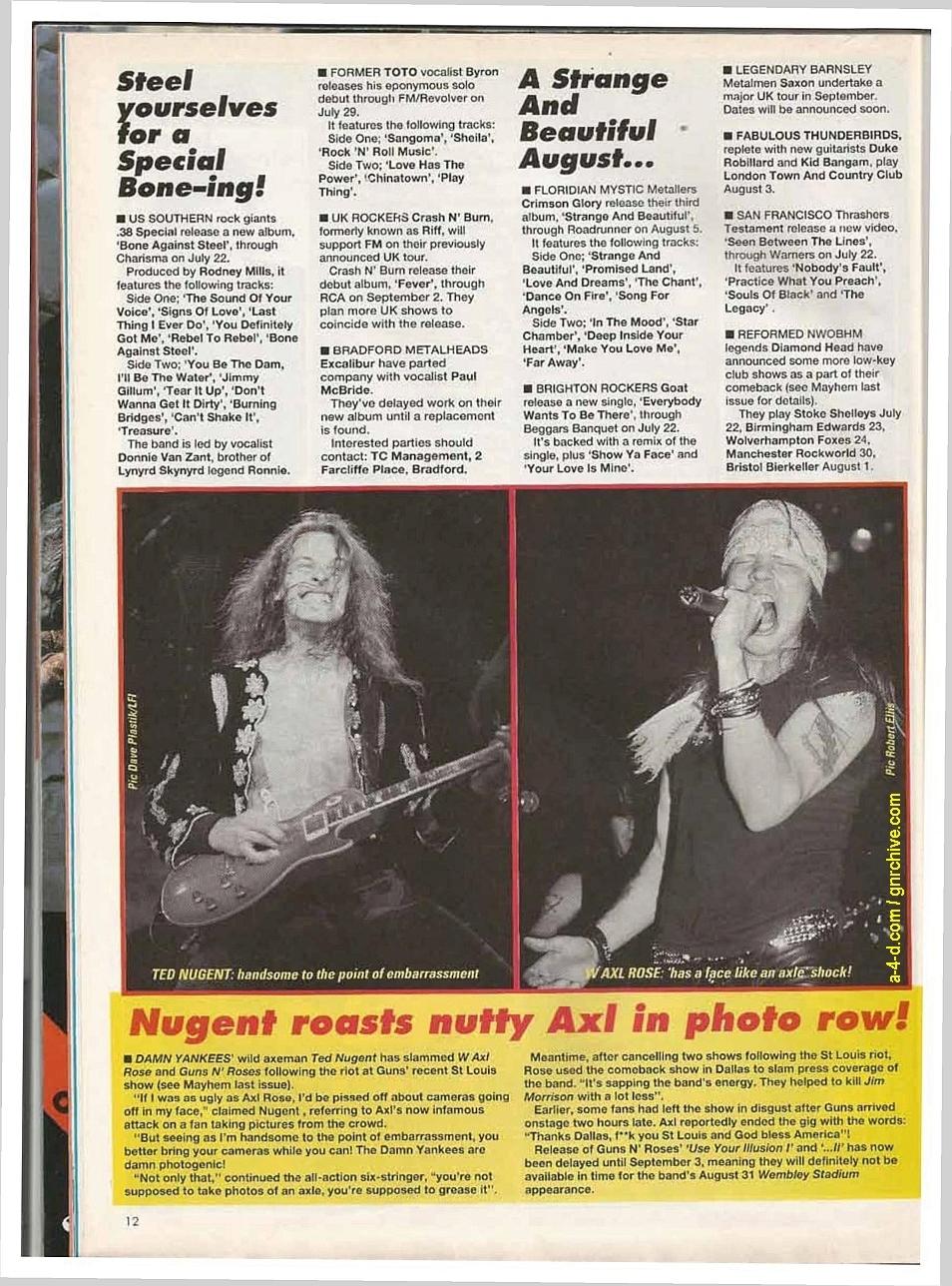 1991.07.20 - Kerrang - Singlez/GN'R latest news update: no 'Illusion' 'til September? 1991-019