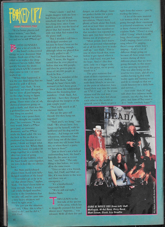"1991.07.27 - Kerrang - ""We're Still F@*ked Up!"" (Slash, Duff) 1991_014"