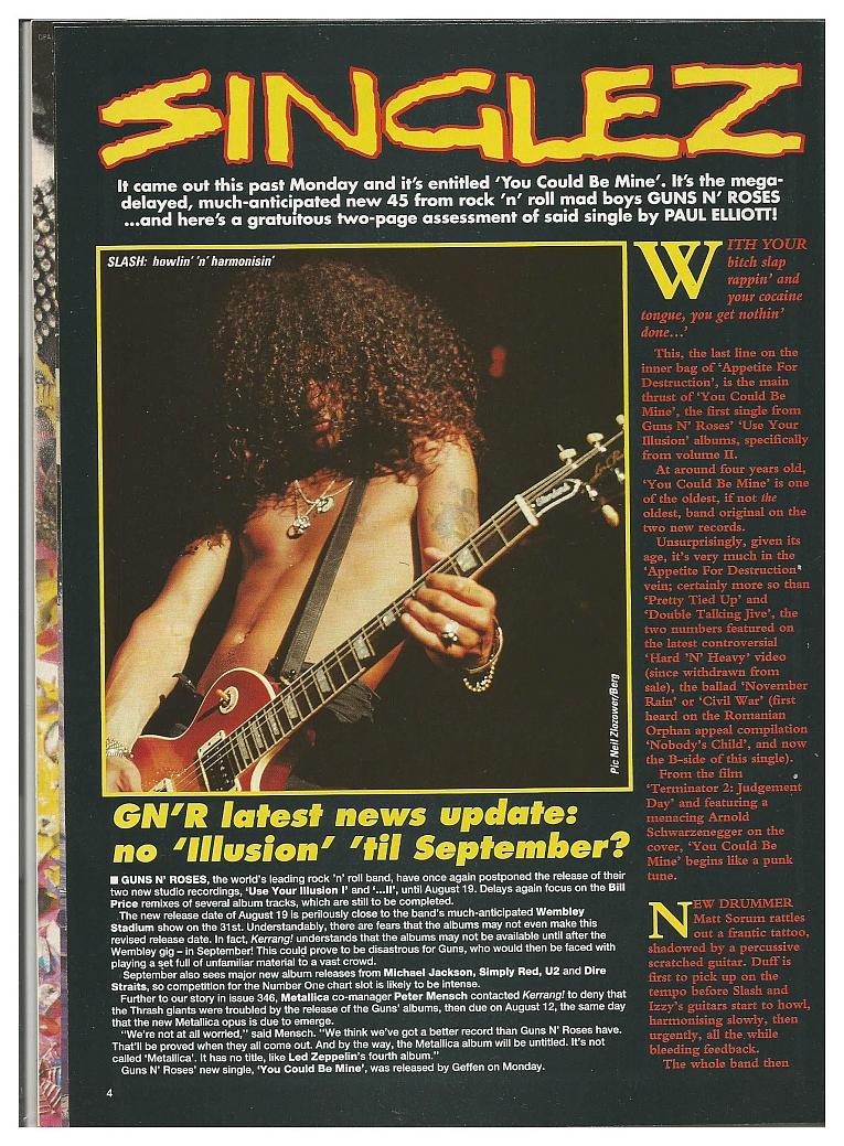 1991.07.20 - Kerrang - Singlez/GN'R latest news update: no 'Illusion' 'til September? 1991_021