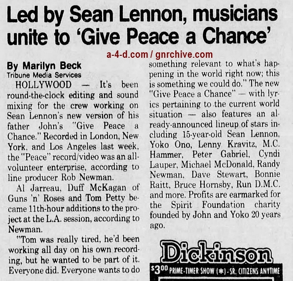 1991.01.12 - The New York Times - Lennon's Son Expands a Song of Peace (Duff) 1991_023