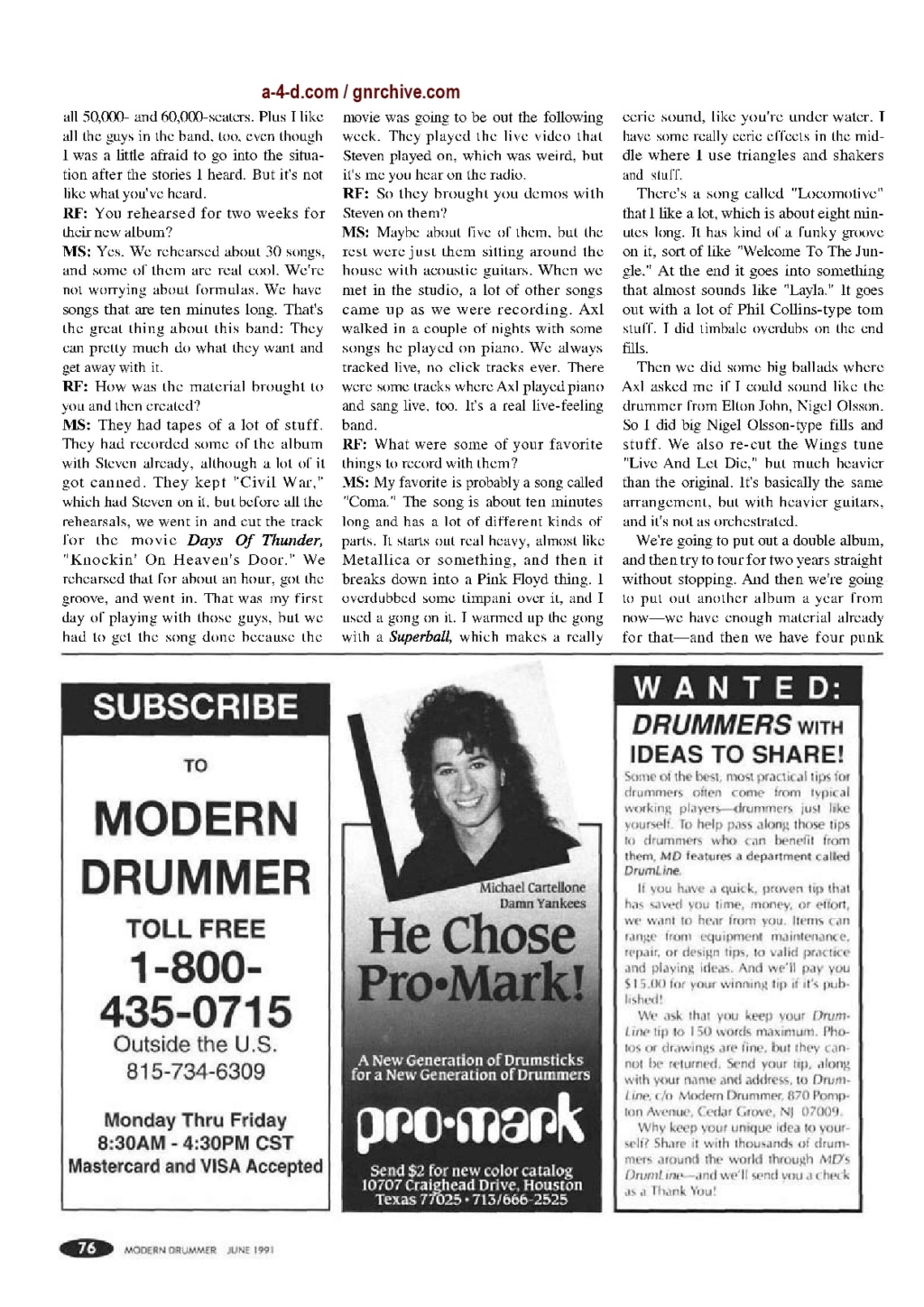 1991.06.DD - Modern Drummer - Matt Sorum: Guns N' Roses' New Stickman 1991_043
