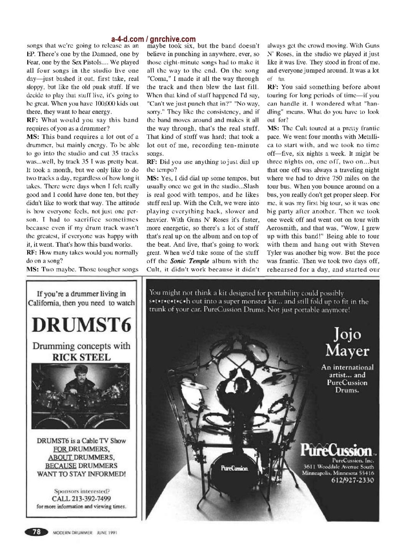 1991.06.DD - Modern Drummer - Matt Sorum: Guns N' Roses' New Stickman 1991_045