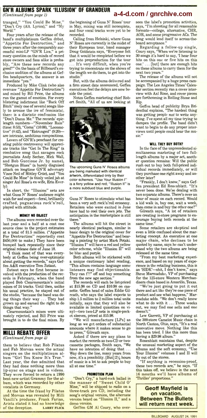 1991.08.24 - Billboard - GN'R Sets Spark 'Illusion' Of Grandeur (Doug Goldstein, Tom Zutaut) 1991_056