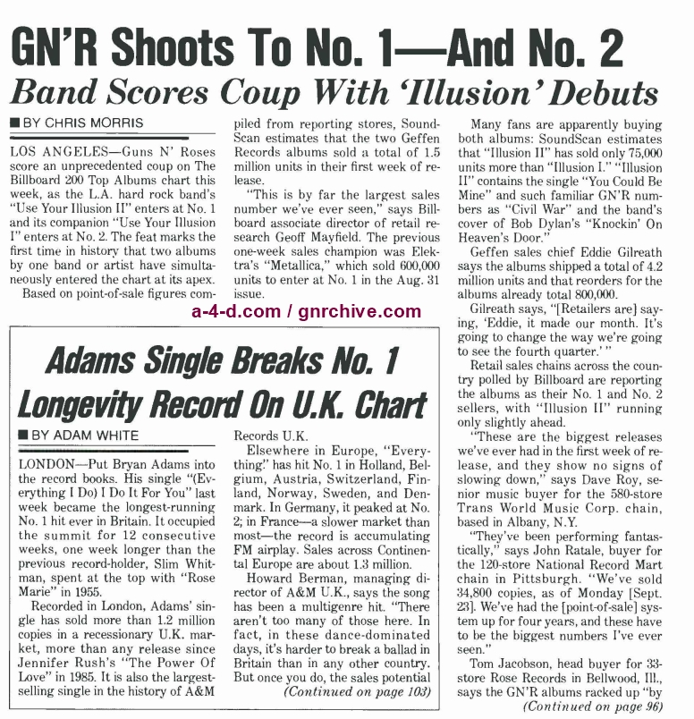 1991.10.05 - Billboard - Rumors Persist: Izzy Or Isn't He Leaving GN'R? / GN'R Shoots To No. 1—And No. 2 1991_129