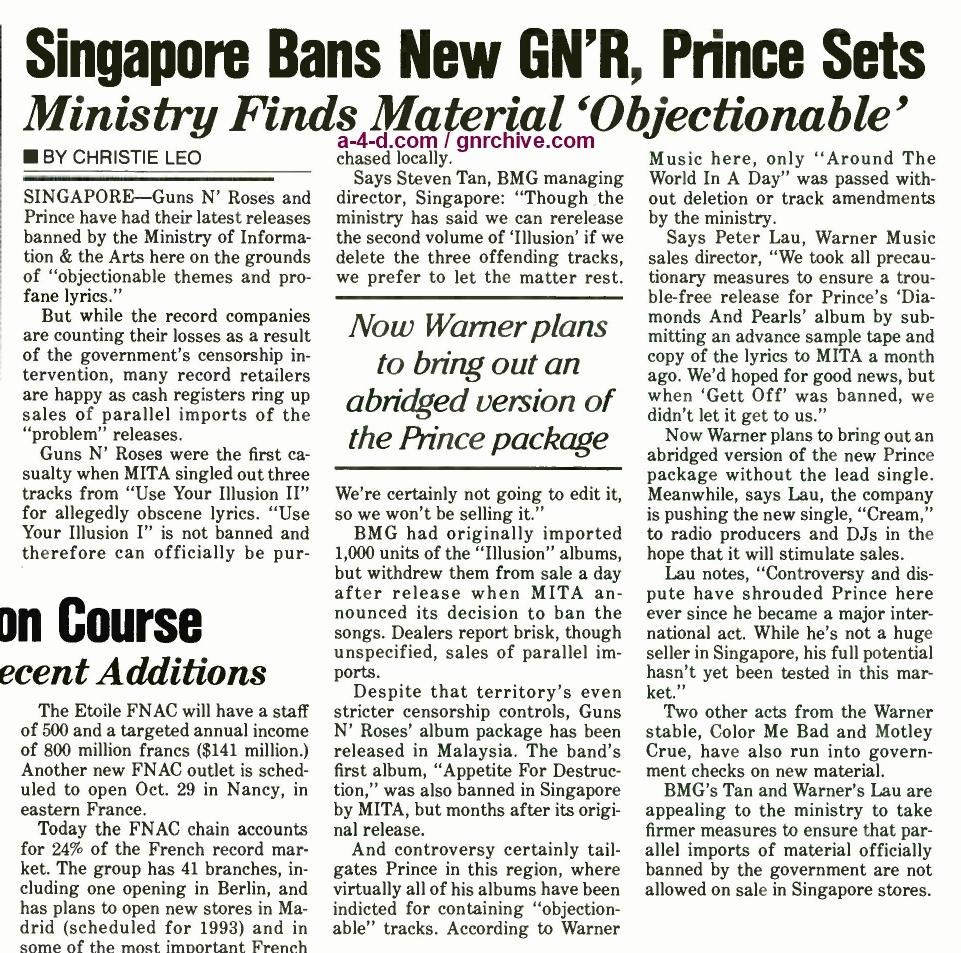 1991.10.19 - Billboard - Singapore Bans New GN'R, Prince Sets 1991_130