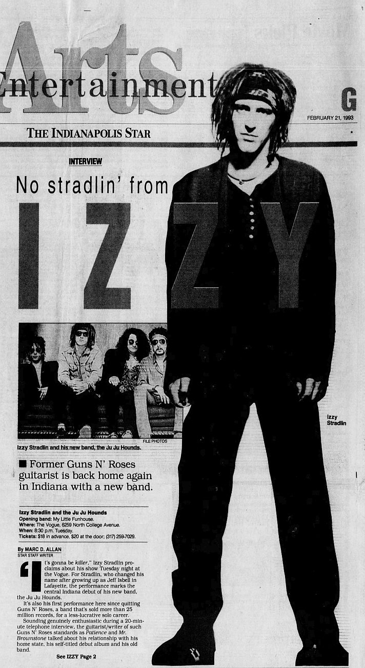 1993.02.21 - The Indianapolis Star - No stradlin' from Izzy 1993_096