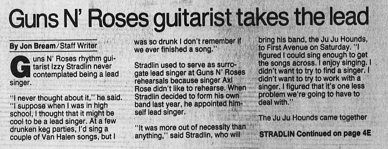 1993.02.26 - Star Tribune - Guns N' Roses guitarist takes the lead (Izzy) 1993_098