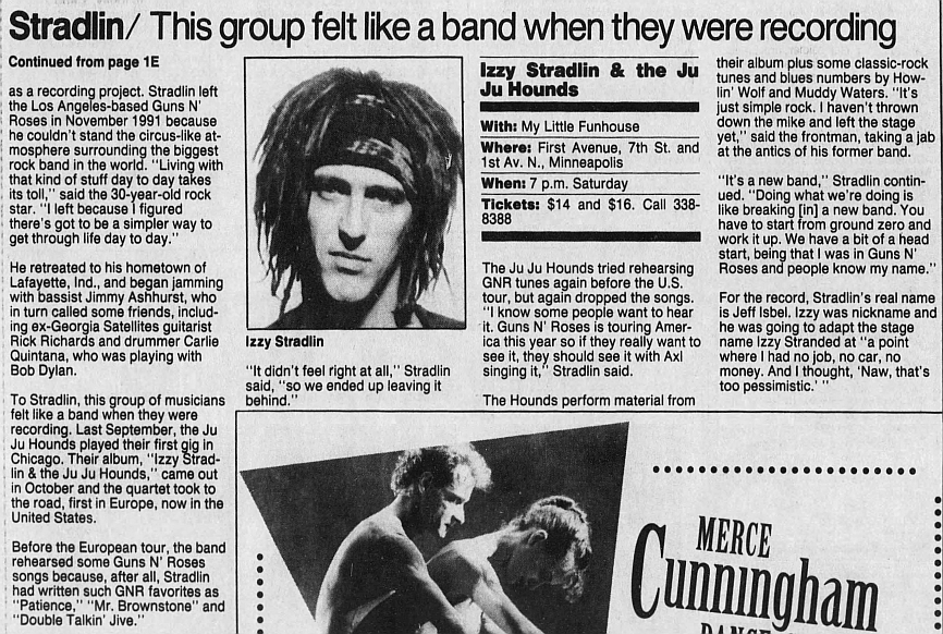 1993.02.26 - Star Tribune - Guns N' Roses guitarist takes the lead (Izzy) 1993_099