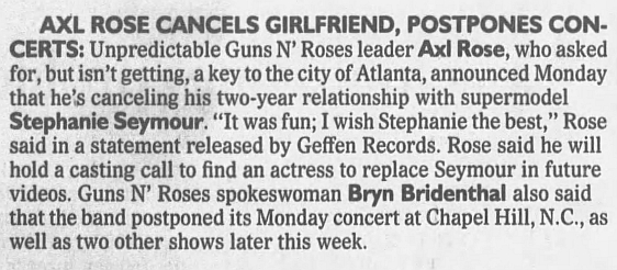 1993.03.02 - The Atlanta Constitution - Axl Rose cancels girlfriend, postpones concerts 1993_102