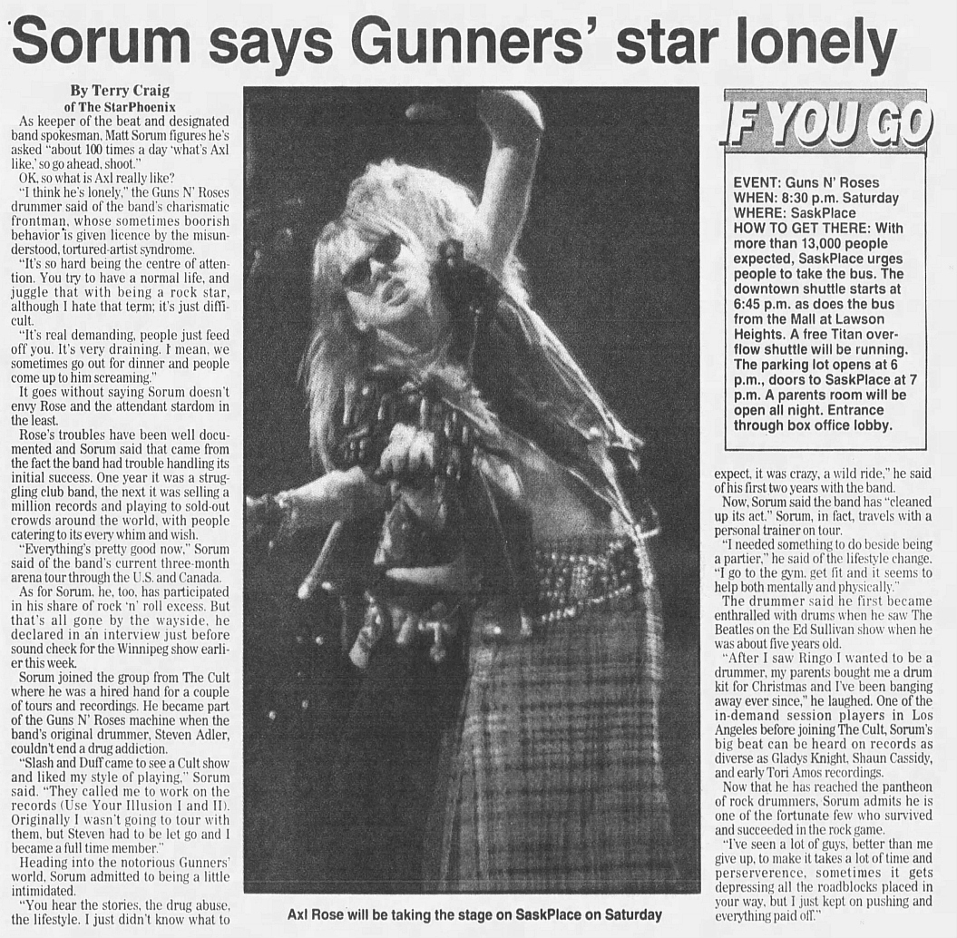 1993.03.26 - Star Phoenix - Sorum says Gunners' star lonely (Matt) 1993_110