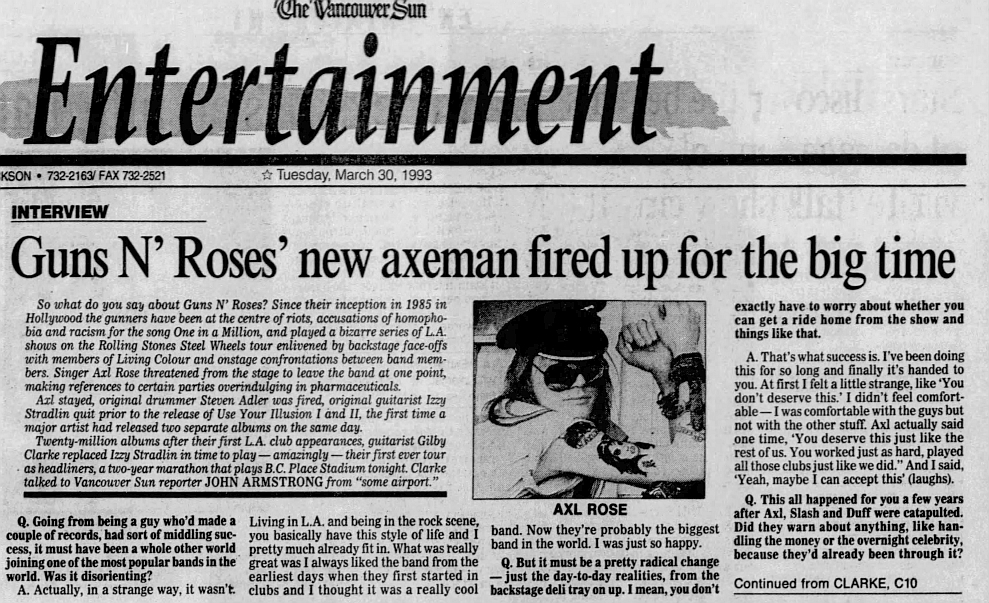 1993.03.30 - The Vancouver Sun - Guns N' Roses' new axeman fired up for the big time (Gilby) 1993_111