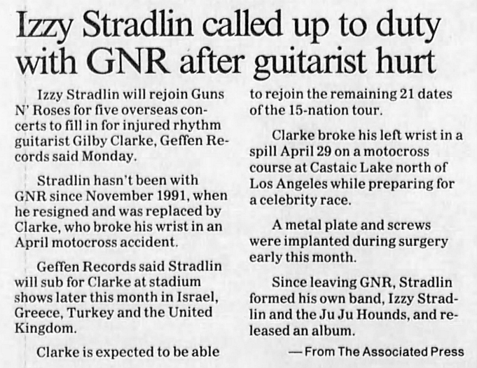 1993.05.18 - The San Bernandino County - Izzy Stradlin called up to duty with GNR after guitarist hurt 1993_116