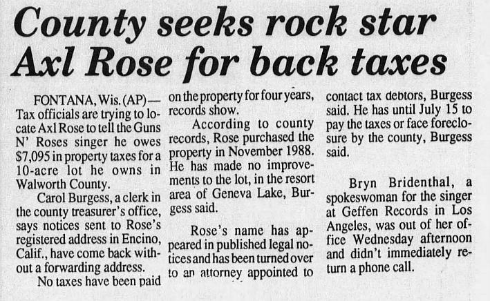 1993.06.10 - Daily Citizen - County seeks rock star Axl Rose for back taxes 1993_135