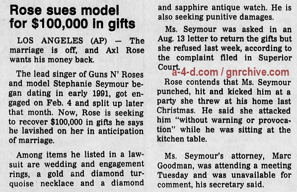 1993.09.02 - The Pantagraph - Rose sues model for $100,000 in gifts 1993_139