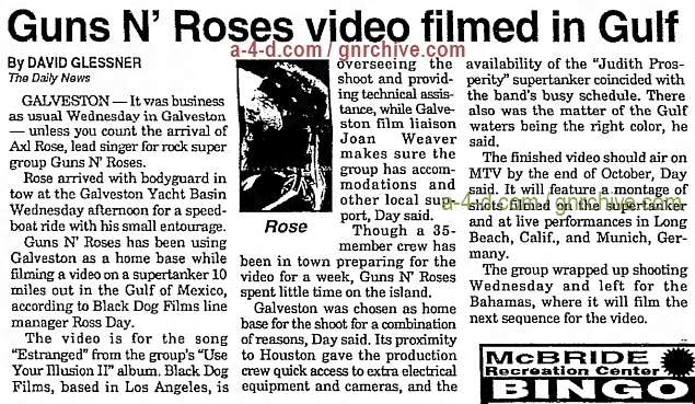 1993.09.02 - The Galveston Daily News - Guns N' Roses video filmed in Gulf 1993_140