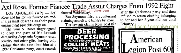 1993.11.11 - AP/Logansport Pharos Tribune - Axl Rose, Former Fiancee Trade Assault Charges From 1992 Fight 1993_142