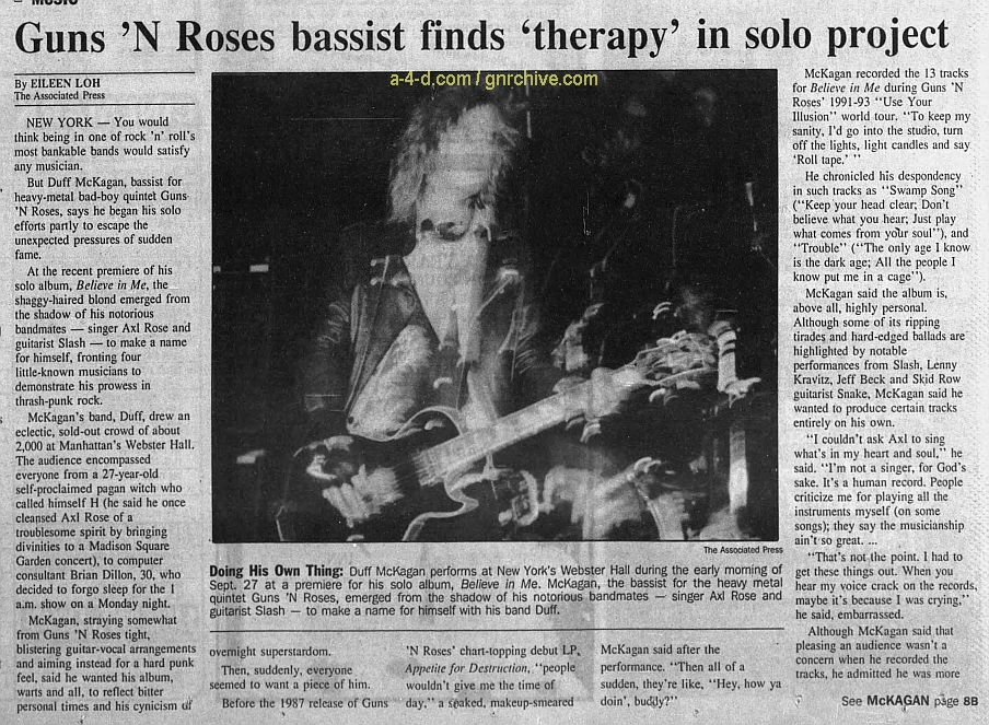 1993.12.28 - AP/The Monitor - Guns 'N Roses bassist finds 'therapy' in solo project (Duff) 1993_145