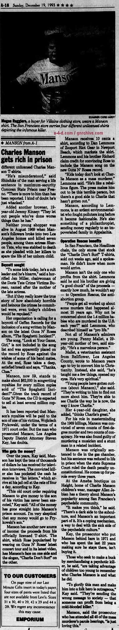 1993.12.19 - The San Francisco Examiner - New generation decides the mass murderer is cool 1993_148