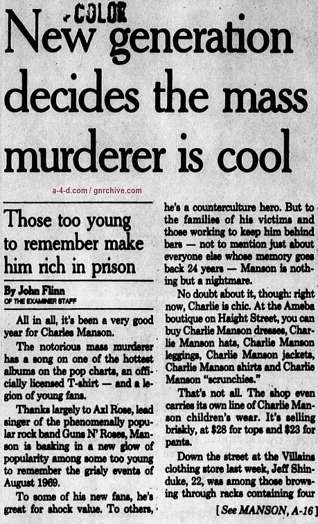 1993.12.19 - The San Francisco Examiner - New generation decides the mass murderer is cool 1993_150