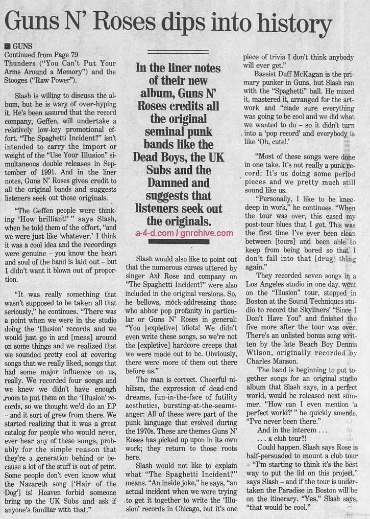 1993.11.26 - The Boston Globe - Guns N' Roses Dips Into History (Slash) 1993_152