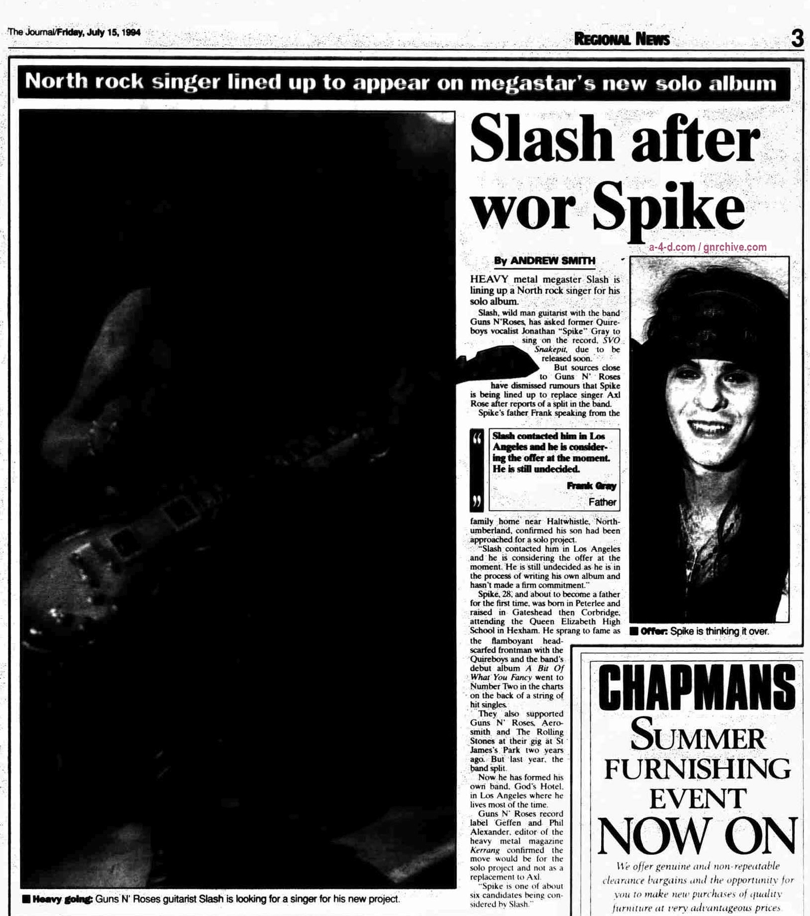 1994.07.14 - The Newcastle Journal - Slash after wor Spike 1994_016