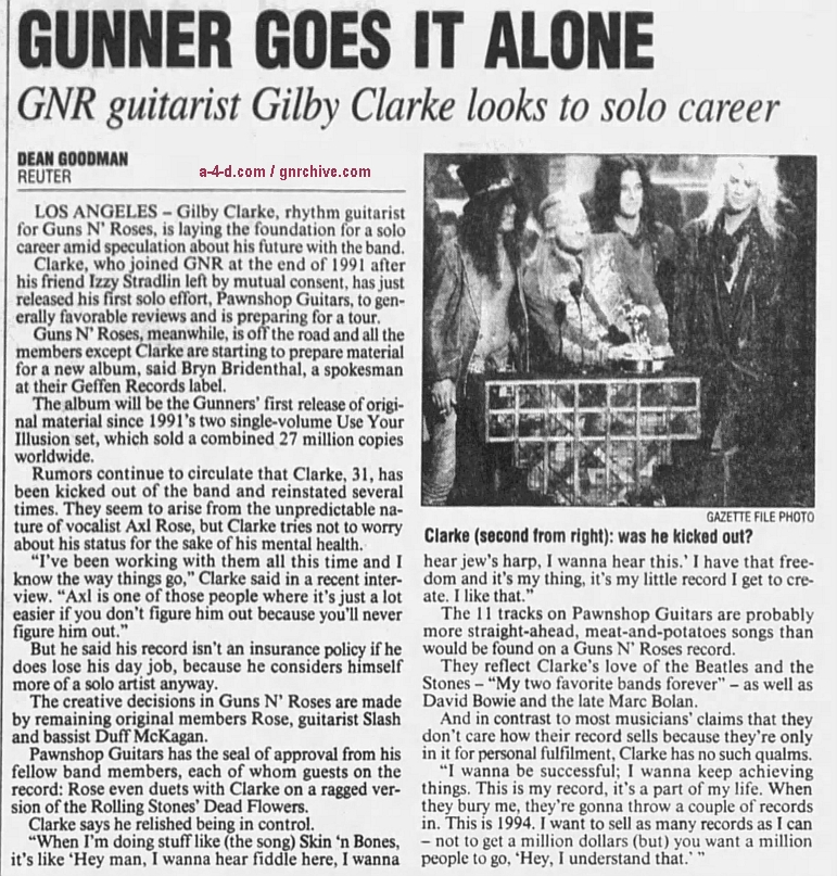 1994.09.04 - The Gazette/Reuter - Gunner Goes It Alone (Gilby) 1994_017