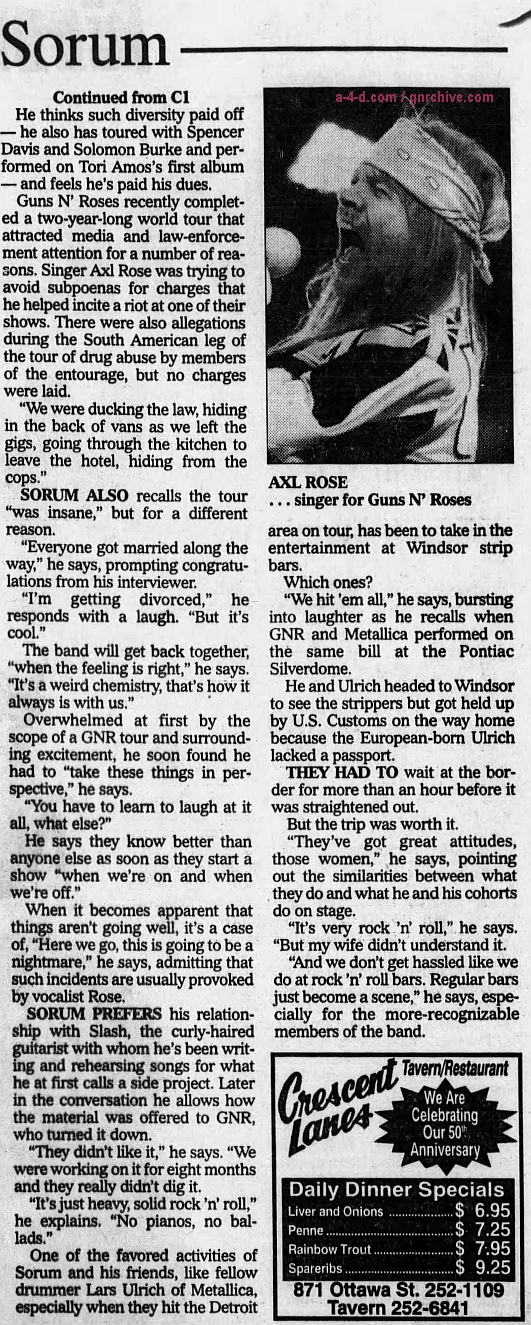1994.05.20 - The Windsor Star - Guns N' Roses' Sorum gets bang out of career 1994_018