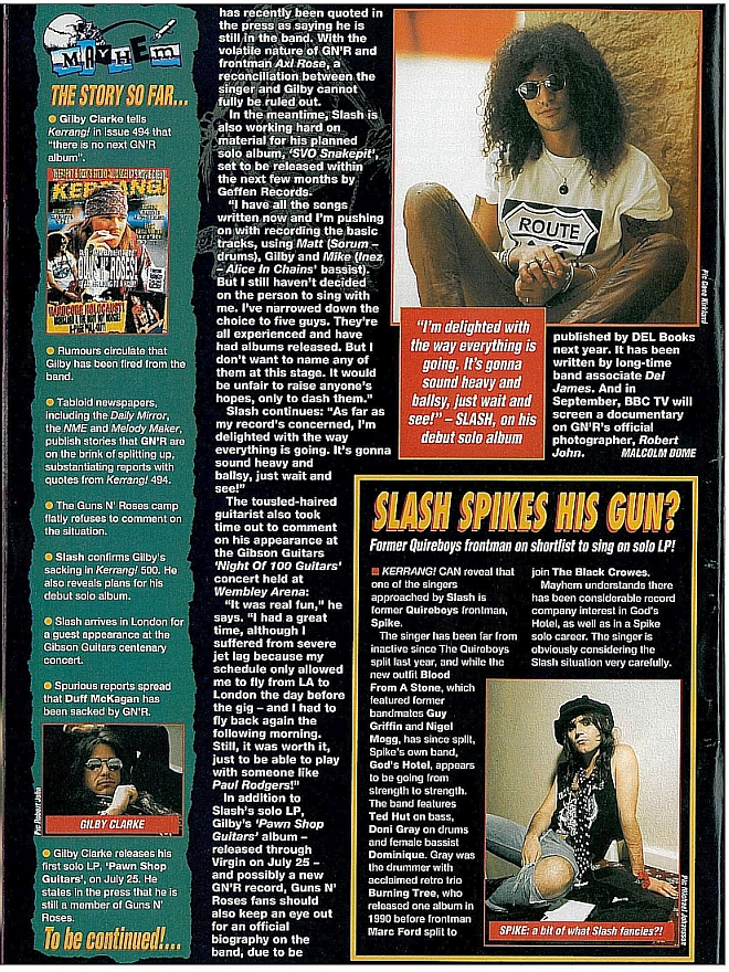 1994.07.16 - Kerrang - Duff Fired? Guns To Split? (Slash) 1994_029