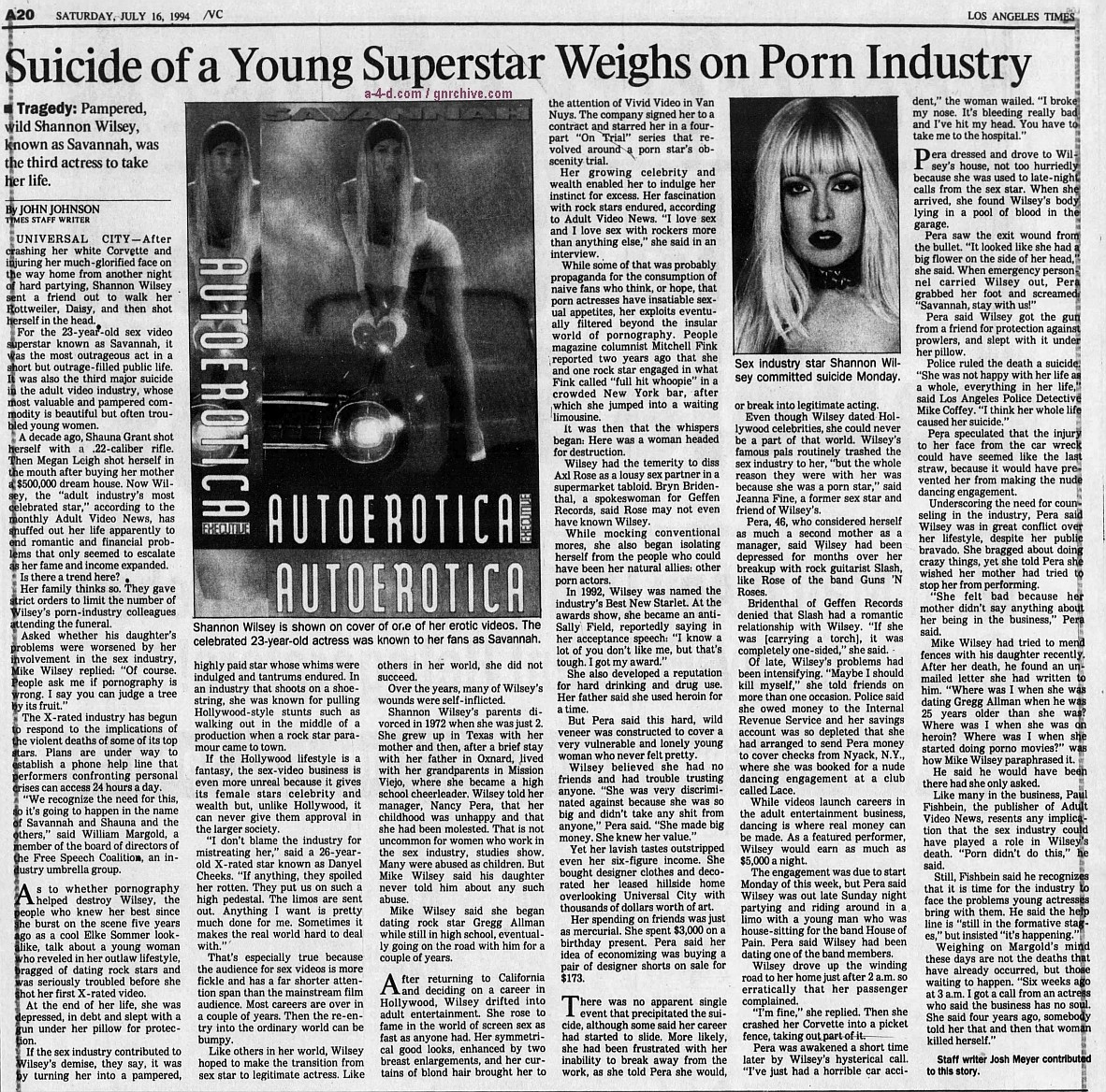 1994.07.16 - Los Angeles Times - Suicide of Young Superstar Weighs on Porn Industry 1994_037
