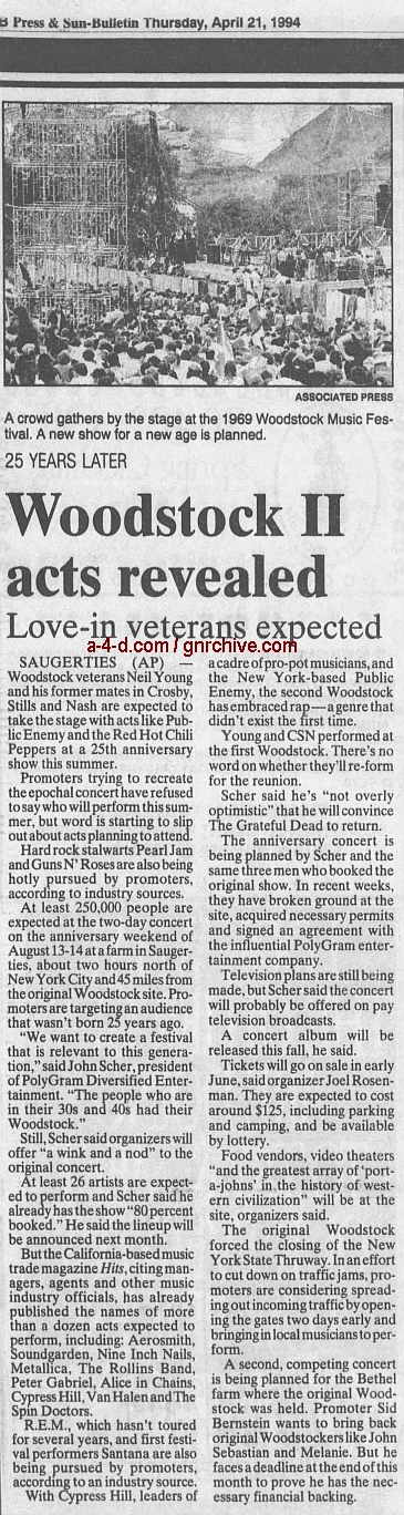1994.04.21 - AP/Press and Sun Bulletin - Woodstock II acts revealed 1994_044