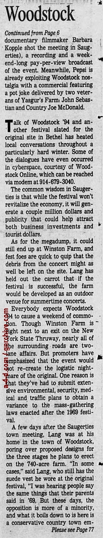 1994.04.21 - AP/Press and Sun Bulletin - Woodstock II acts revealed 1994_046