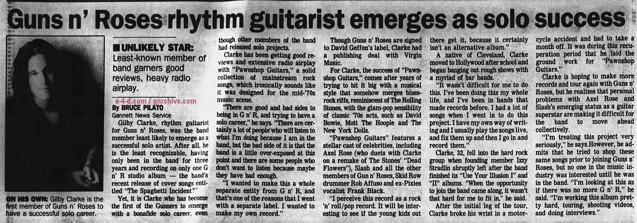 1994.10.30 - The Desert Sun - Guns n' Roses rhythm guitarist emerges as solo success (Gilby) 1994_115