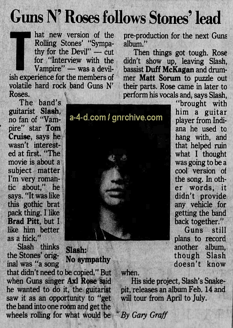 1994.12.22 - Detroit Free Press - Guns N' Roses follows Stones' lead (Slash) 1994_117