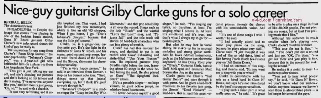 1994.10.04 - AP/Daily News - Nice-guy guitarist Gilby Clarke guns for a solo career (Gilby) 1994_118